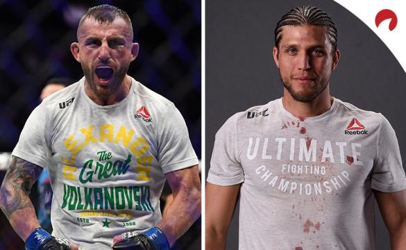 Alexander Volkanovski (left) is favored over Brian Ortega (right) in the UFC 266 odds.