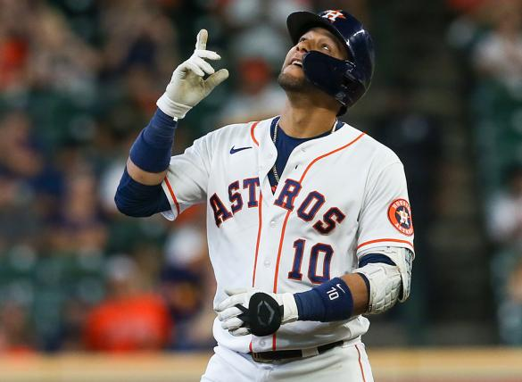 Yuli Gurriel and the Houston Astros are big moneyline favorites in MLB betting odds Thursday vs the Texas Rangers.