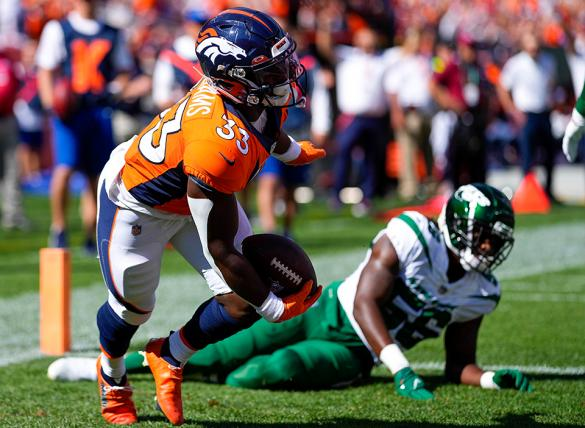 Javonte Williams and the Broncos are slight home underdogs vs the Baltimore Ravens in NFL betting odds.