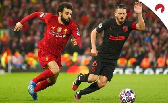 Salah (izq) y Koke (der) disputan un balón en la Champions League. Conoce las cuotas del Atlético de Madrid Vs Liverpool