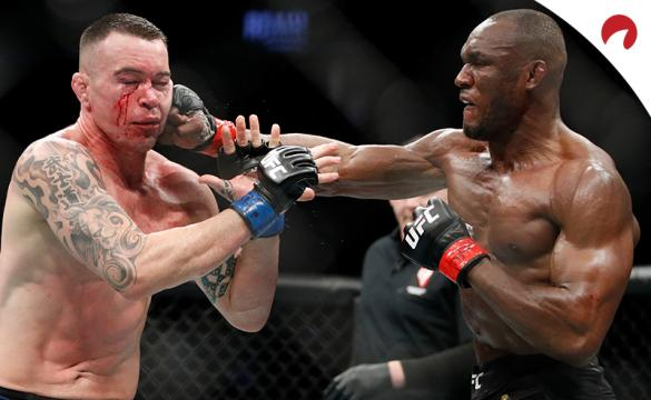 Kamaru Usman (right) is favored in the Usman vs Covington odds for their rematch.